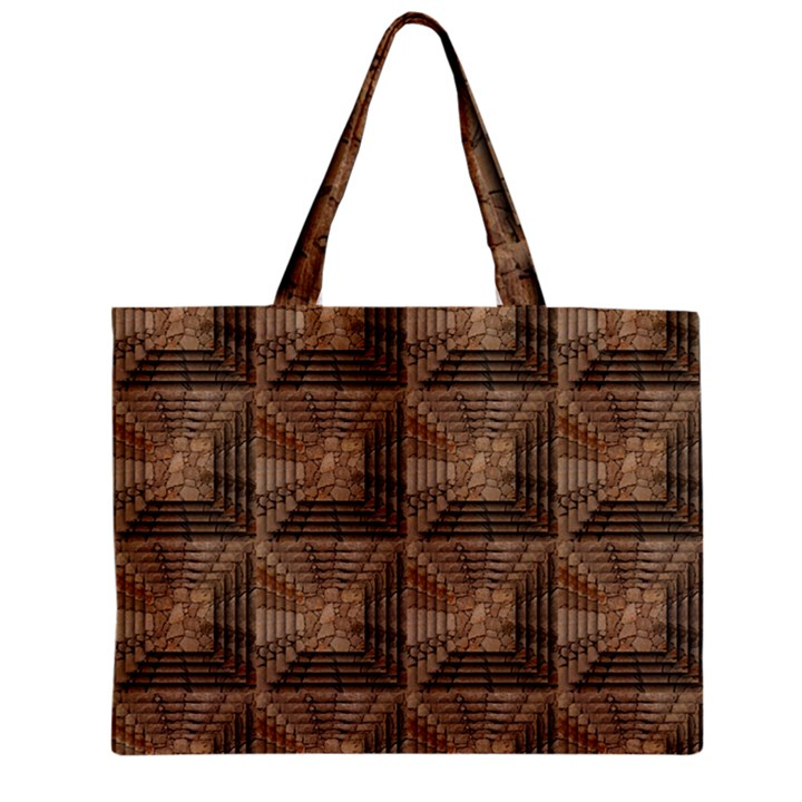 Collage Stone Wall Texture Zipper Mini Tote Bag