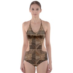 Collage Stone Wall Texture Cut-Out One Piece Swimsuit