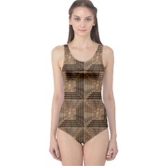 Collage Stone Wall Texture One Piece Swimsuit