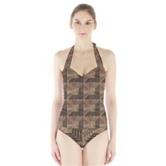 Collage Stone Wall Texture Halter Swimsuit