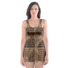 Collage Stone Wall Texture Skater Dress Swimsuit