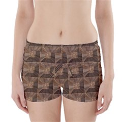 Collage Stone Wall Texture Boyleg Bikini Wrap Bottoms