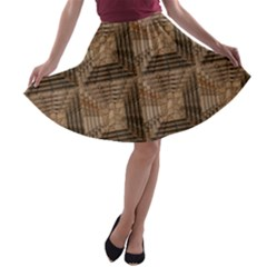 Collage Stone Wall Texture A-line Skater Skirt