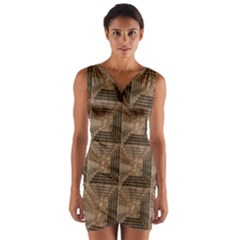 Collage Stone Wall Texture Wrap Front Bodycon Dress