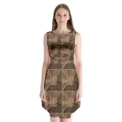 Collage Stone Wall Texture Sleeveless Chiffon Dress