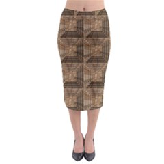 Collage Stone Wall Texture Midi Pencil Skirt