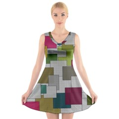 Decor Painting Design Texture V Neck Sleeveless Skater Dress