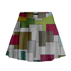Decor Painting Design Texture Mini Flare Skirt