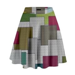 Decor Painting Design Texture High Waist Skirt