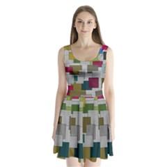 Decor Painting Design Texture Split Back Mini Dress