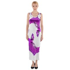 Koi Carp Fish Water Japanese Pond Fitted Maxi Dress