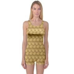 Wood Illustrator Yellow Brown One Piece Boyleg Swimsuit