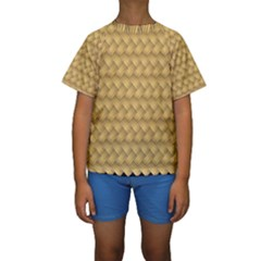 Wood Illustrator Yellow Brown Kids  Short Sleeve Swimwear