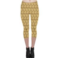 Wood Illustrator Yellow Brown Capri Leggings