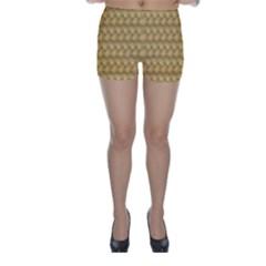 Wood Illustrator Yellow Brown Skinny Shorts