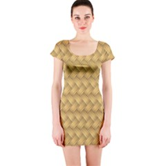 Wood Illustrator Yellow Brown Short Sleeve Bodycon Dress