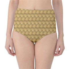 Wood Illustrator Yellow Brown High Waist Bikini Bottoms