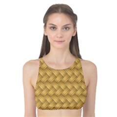 Wood Illustrator Yellow Brown Tank Bikini Top