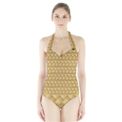 Wood Illustrator Yellow Brown Halter Swimsuit