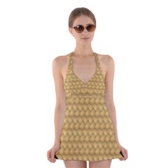 Wood Illustrator Yellow Brown Halter Swimsuit Dress