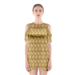 Wood Illustrator Yellow Brown Shoulder Cutout One Piece