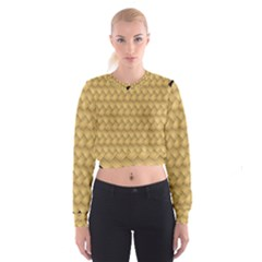 Wood Illustrator Yellow Brown Cropped Sweatshirt