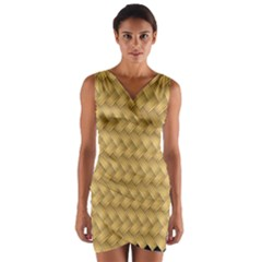 Wood Illustrator Yellow Brown Wrap Front Bodycon Dress