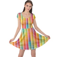 Background Colorful Abstract Cap Sleeve Dresses