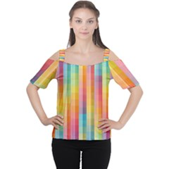 Background Colorful Abstract Women s Cutout Shoulder Tee