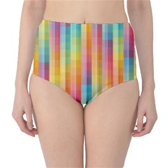 Background Colorful Abstract High-Waist Bikini Bottoms
