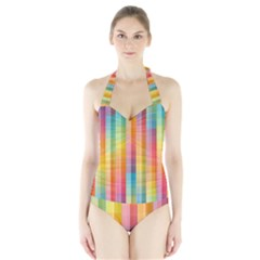 Background Colorful Abstract Halter Swimsuit