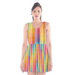 Background Colorful Abstract Scoop Neck Skater Dress