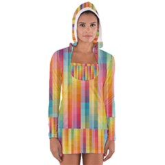Background Colorful Abstract Women s Long Sleeve Hooded T Shirt