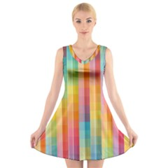Background Colorful Abstract V Neck Sleeveless Skater Dress
