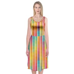 Background Colorful Abstract Midi Sleeveless Dress