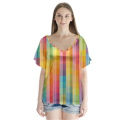 Background Colorful Abstract Flutter Sleeve Top