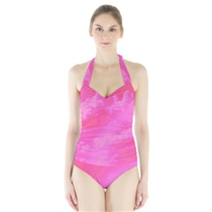 Sky pattern Halter Swimsuit