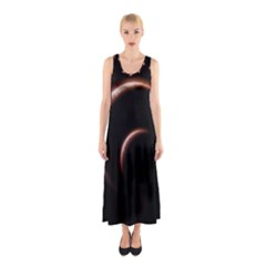 Planet Space Abstract Sleeveless Maxi Dress