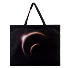 Planet Space Abstract Zipper Large Tote Bag