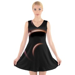 Planet Space Abstract V-Neck Sleeveless Skater Dress