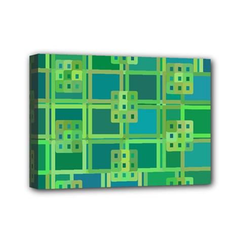 Green Abstract Geometric Mini Canvas 7  X 5