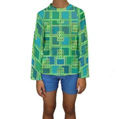 Green Abstract Geometric Kids  Long Sleeve Swimwear