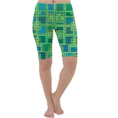 Green Abstract Geometric Cropped Leggings
