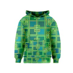 Green Abstract Geometric Kids  Pullover Hoodie