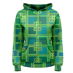 Green Abstract Geometric Women s Pullover Hoodie