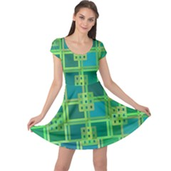 Green Abstract Geometric Cap Sleeve Dresses