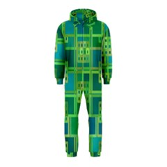 Green Abstract Geometric Hooded Jumpsuit (kids)
