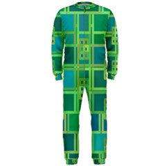 Green Abstract Geometric Onepiece Jumpsuit (men)