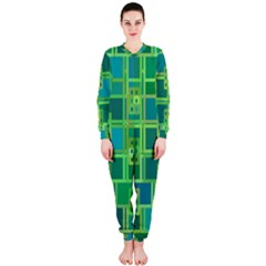 Green Abstract Geometric Onepiece Jumpsuit (ladies)