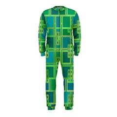 Green Abstract Geometric Onepiece Jumpsuit (kids)